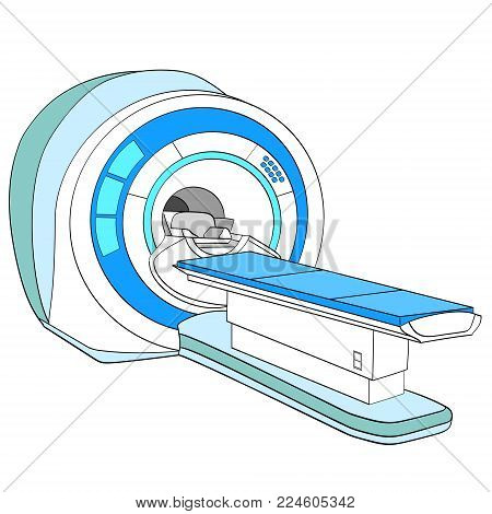 CT scanner computerized tomography scanner , MRI magnetic resonance imaging machine, medical equipment. Object on white background vector