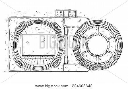 Cartoon vector doodle drawing illustration of open empty vault door. Business concept of crisis or bankrupt.