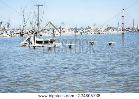 Remains of a city flooded by salt water. Epecuén, Buenos Aires, Argentina.