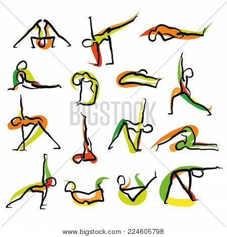 Set of 16 Yoga Doodle Icons. Hand drawn sketches with colored swipe on white backgound. Vector art