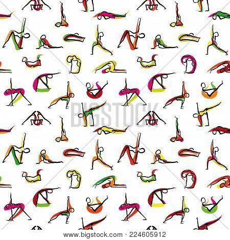 Yoga seamless wallpaper pattern, hand drawn sketches with colored swipe on white backgound. Vector art.