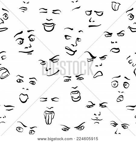Seamless Set of Faces, hand drawn sketches on white backgound. Vector art