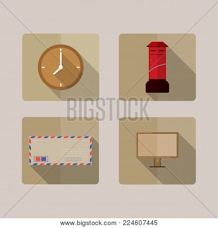 Four icons long shadow mail box,envelope,clock and monitor