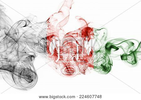 Afghanistan smoke flag isolated on a white background