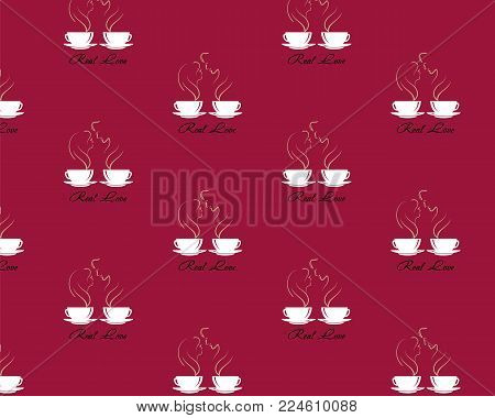 Seamless Pattern With Steaming Silhouettes Of Male And Female In Love Over Coffee Cup On Dark Brown