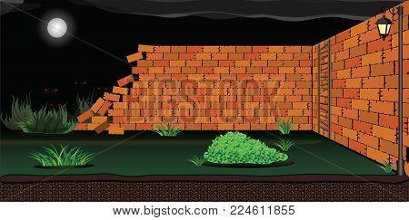 Wracked Brick Wall with scary eyes looking behind 2D Game Asset