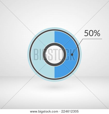 50 percent pie chart isolated symbol. Percentage vector infographics. Circle diagram sign. Business illustration icon for marketing project, finance, financial report, web, concept design, download