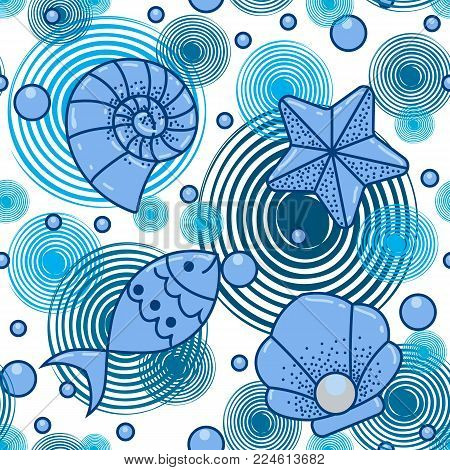 Sea fish wild life. Sea fish wild life, summer ocean style. Pattern
