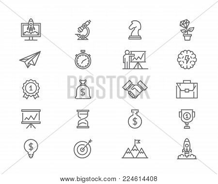 Set of vector startup and business line icons. Mountain peak, target, light bulb, trophy, award, presentation, handshake, brain, plant growth, knight chess, briefcase, stopwatch and more.