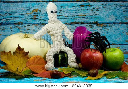 Halloween Background - Mummy, Lilac Candle, White Pumpkin, Green And Red Apple , Black Spider And Au