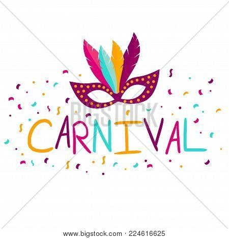 Vector carnival mask with feathers. Carnival poster, banner with colorful party elements - mask, confetti, stars and splashes. Festival concept design.