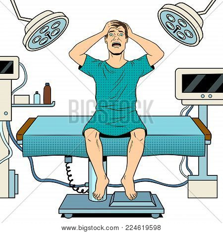 Scared mad patient in operating room pop art retro vector illustration. Isolated image on white background. Comic book style imitation.