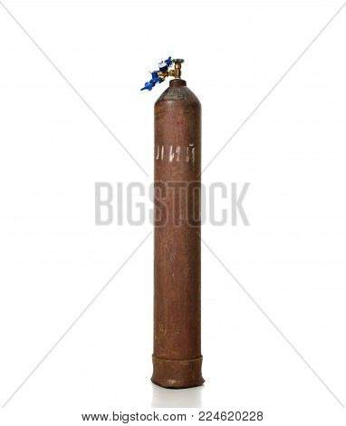 New Standard Helium Tank for Balloon inflation with Economy Regulator Fill Valve for Latex Balloons isolated on white background