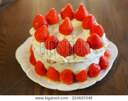 Fresh strawberries and whipped cream sponge cake. Unlike many parts of the world, Strawberry cream sponge cakes often with little or no decoration are the typical Christmas cake of Japan but are also enjoyed all year round.