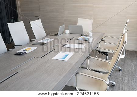 Modern Contracted Office interiors.In selective focus with perspective. Setup studio shooting. Setup studio shooting.