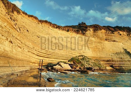 Cliff Of The Island Of Corfu In Greece