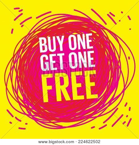 Buy One, Get One Free Poster or Banner Abstract Design, vector illustration