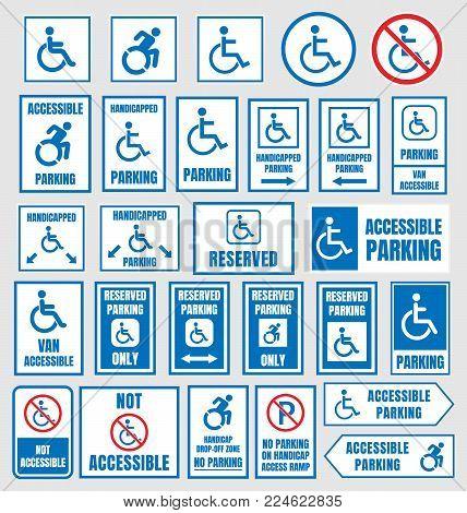 disabled parking sign, accesible parking symbols set