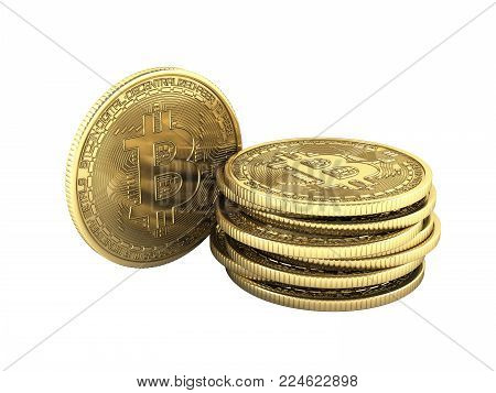 Bitcoin Pile of coins 3D isometric Physical bit coin in gold Digital currency Cryptocurrency Golden coins with symbol isolated on white background 3d render illustration without shadow