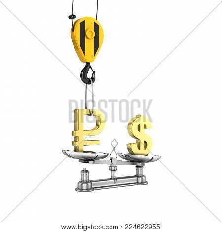 Concept of exchange rate support dollar vs ruble The crane pulls the ruble up and lowers the dollar on white background without shadow 3d