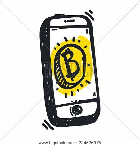 Vector visualization concept of electronic commerce. Online bitcoin payment.  smartphone with coin. Pay per click by virtual currency. Hand drawing illustrations. Doodle sketch