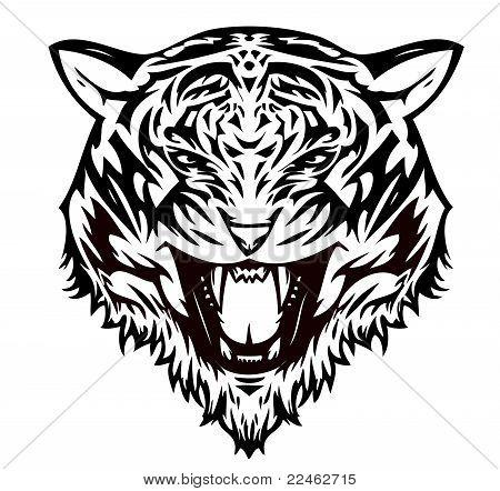 Tiger  cat aggressive (vector)