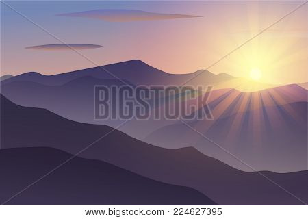 Vector Morning at Mountains. Background. Vector illustration