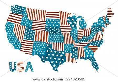 Vector map of the USA. Patchwork cartoon illustration with stars and stripes
