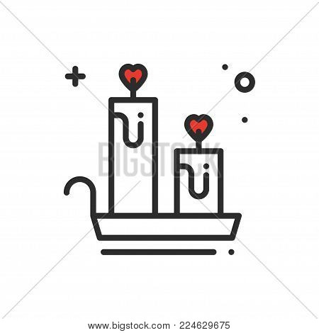 Aroma candle line icon. Heart sign and symbol. Love romantic spa aromatherapy aroma wellness relaxation theme