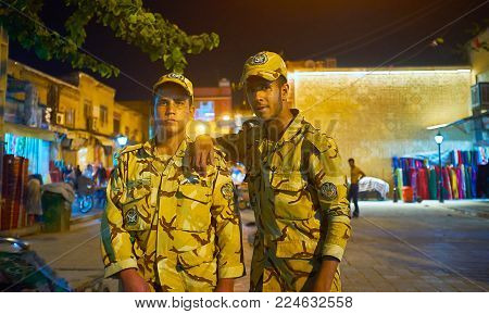 Shiraz, Iran - October 12, 2017: The Young Soldiers Of Iranian Army Pose For The Portrait In The Eve