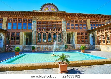 Shiraz, Iran - October 12, 2017: The  Main Building Of Zinat Ol-molk Complex With Tiled Patterns On