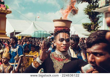 Batu Caves, Selangor, Malaysia - January 31, 2018 Hindu Devotees Celebrate Thaipusam Festival With P