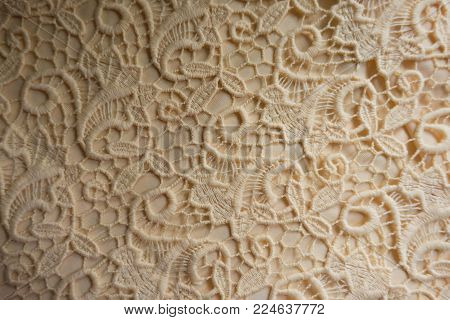 Cream colored perforated lacy fabric from above
