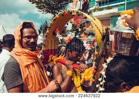 Batu Caves, Selangor, Malaysia - 31 January 2018 Hindu Devotees Celebrate Thaipusam Festival With Pr