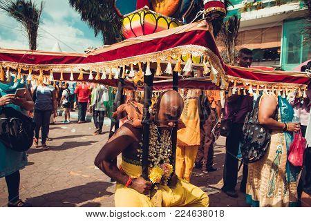 Batu Caves, Selangor, Malaysia - 31 January 2018 Hindu Devotees Celebrate Thaipusam Festival. People