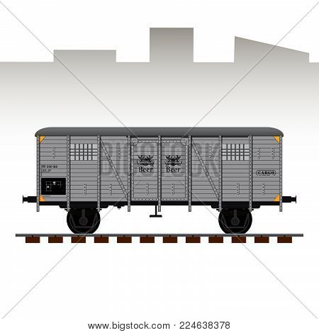Railway cargo transport wagon detailed vector illustration. Wagon for beer shipping.