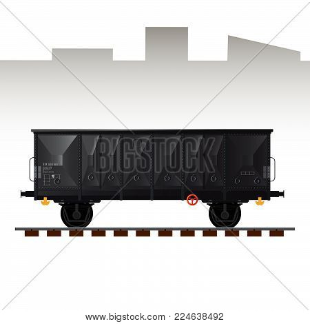 Railway cargo transport wagon detailed vector illustration. Wagon for coal and dry materials transport