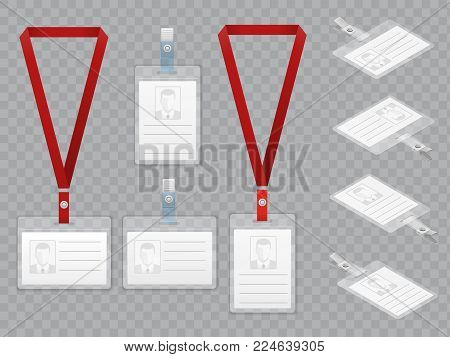 Set of Employees Identification White Blank Plastic Id Cards with Clasp and Lanyards Isolated on Ttransparent Vector Illustration View Top and Isometric