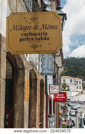 Ouro Preto, Brazil - Dec 28, 2017: Colorful colonial buildings and narrow cobblestone streets of Ouro Preto, Brazil