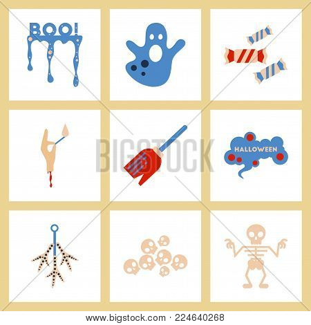 assembly of flat icons halloween boo ghost candies Witch's broom skeleton sign chicken feet skulls