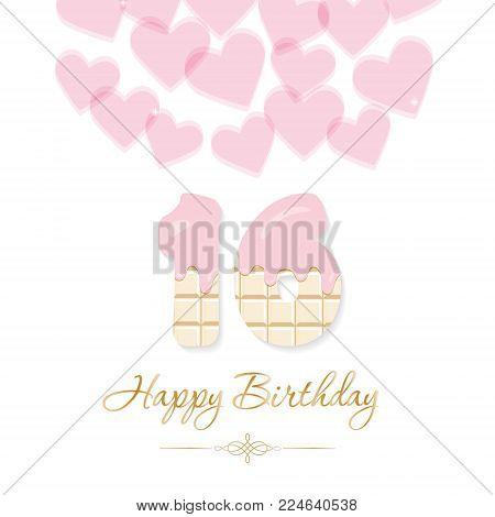 Happy Birthday card for girls. Sweet 16 chocolate numbers. Pastel pink and gold. Vector illustration