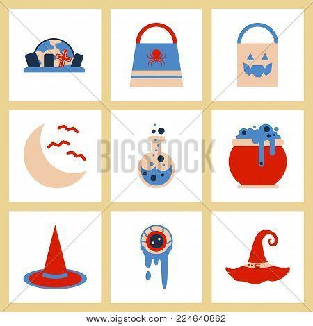assembly of flat icons halloween bag potion bottle moon bats cauldron zombie eyes bag gravestone witch hat