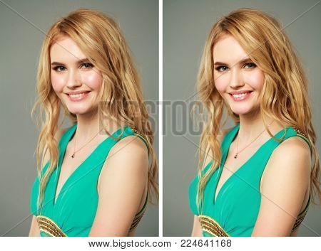 Female face before and after retouch on dark wall studio background