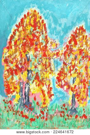 Hand drawn gouache drawing Colored autumn trees