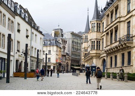 LUXEMBOURG CITY, LUXEMBOURG: JANUARY 19, 2018: A view of the Rue du Marche-aux-Herbes with the main facade of the Grand Ducal Palace on the right