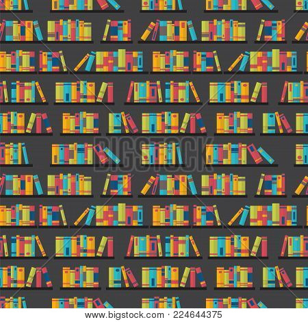 Colorful Seamless Pattern With Books. Library, Bookstore. Flat Design