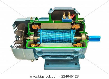 Opened electric motor, isolate on white background