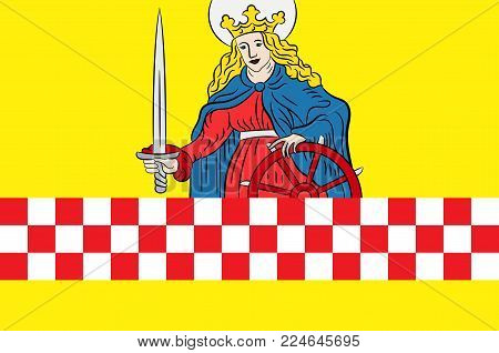 Flag of Altena is a town in the district of Maerkischer Kreis, North Rhine-Westphalia, Germany. Vector illustration