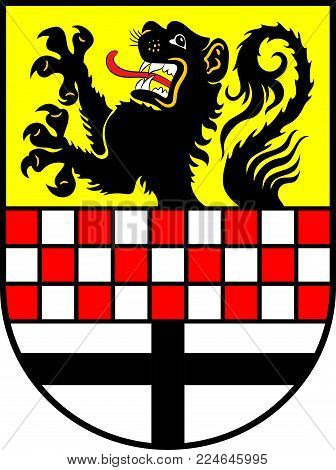 Coat of arms of Maerkischer Kreis is a district in central North Rhine-Westphalia, Germany. Vector illustration