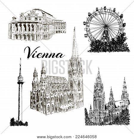 Set of Vienna symbolsVector hand drawn ink pen sketch illustration. Donauturm, Stephansdom, Rathaus, Prater, Vienna State Opera House.